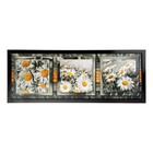 """Часы-картина настенные, серия: Цветы, """"Ромашки в черно-белом поле"""", 35х100  см, микс"""