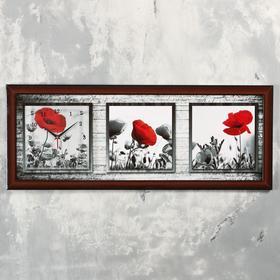 """Часы-картина настенные, серия: Цветы, """"Красный мак"""", 35х100  см, микс"""