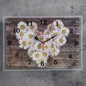 """Часы настенные, серия: Цветы, """"Ромашки в форме сердца""""25х35 см, микс"""