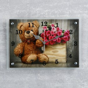 Часы настенные прямоугольные 'Плюшевый мишка' микс 25х35см Ош