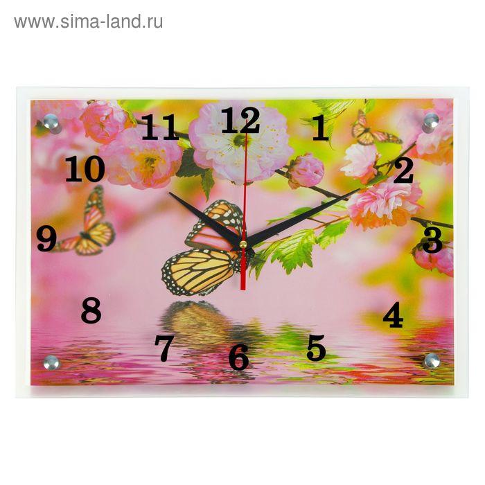 """Часы настенные прямоугольные """"Бабочки"""" микс 25х35см"""
