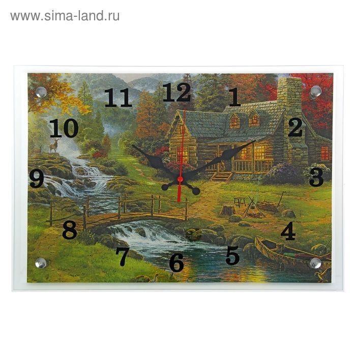 """Часы настенные прямоугольные """"Домик в лесу """"25х35см"""