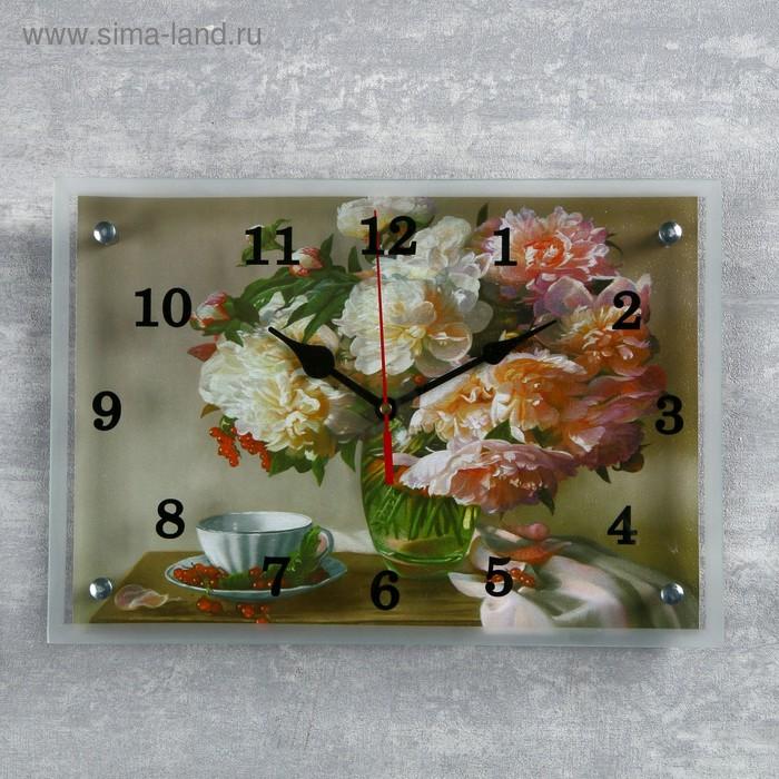 """Часы настенные, серия: Цветы, """"Пионы"""" 25х35 см, микс"""