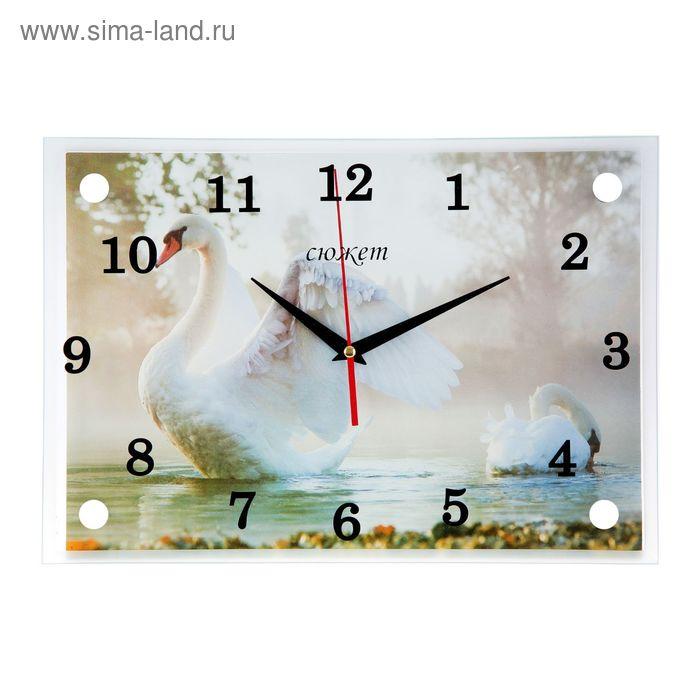 """Часы настенные прямоугольные """"Брызги и лебеди"""" 25х35см  микс"""