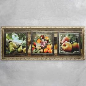 """Часы-картина настенные, серия: Кухня, """"Фруктовый микс"""", 35х100  см, микс"""