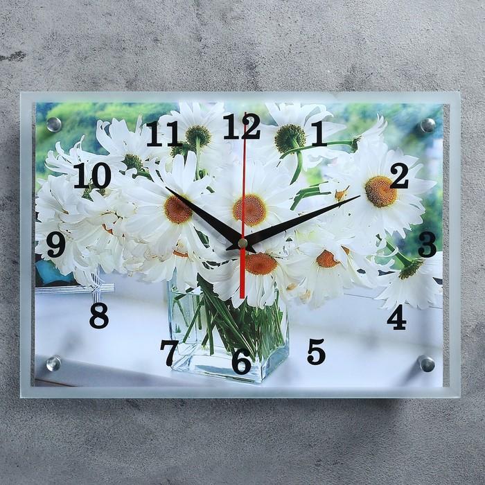 """Часы настенные, серия: Цветы, """"Ромашки в прозрачной вазе""""25х35 см, микс"""