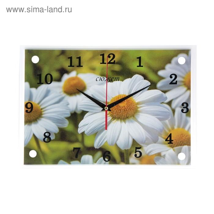 """Часы настенные прямоугольные """"Полевые ромашки""""25х35см микс"""
