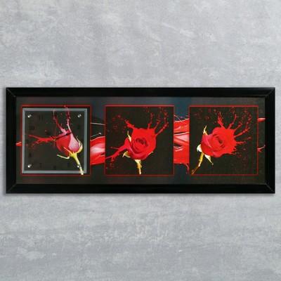 """Часы-картина настенные, серия: Цветы, """"Три розы"""", 35х100  см, микс"""
