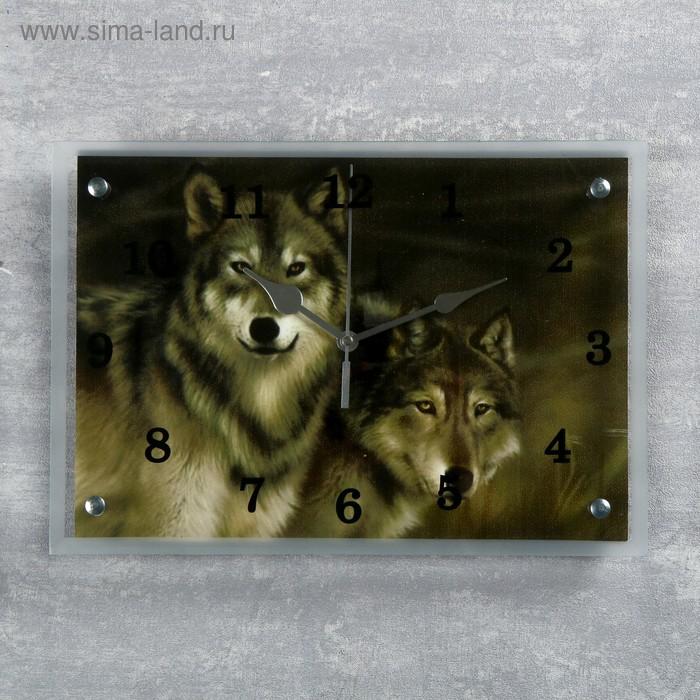 """Часы настенные прямоугольные """"Волки""""25х35см  микс"""