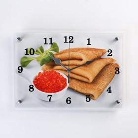 """Часы настенные, серия: Кухня, """"Блины с красной икрой""""25х35 см, микс"""