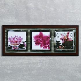 """Часы-картина настенные, серия: Цветы, """"Розовые орхидеи"""", 35х100  см, микс"""