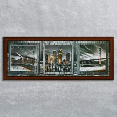 """Часы-картина настенные, серия: Город, """"Ночная Америка"""", 35х100  см, микс"""