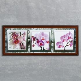 """Часы-картина настенные, серия: Цветы, """"Орхидеи в черно-белой рамке"""", 35х100  см, микс"""