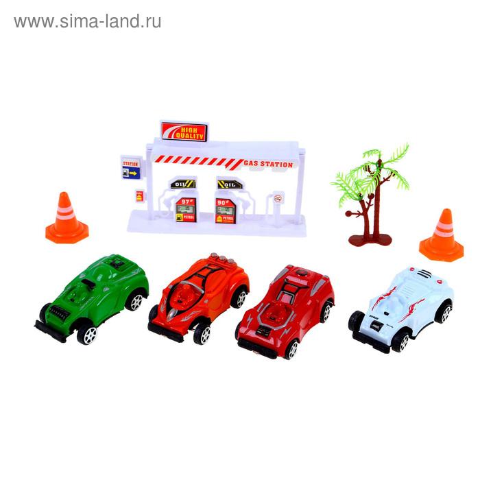 """Набор игровой """"Город"""": 4 машины, знаки, заправка, дерево"""