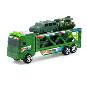 Грузовик инерционный «Военный автовоз», 4 машины Ош