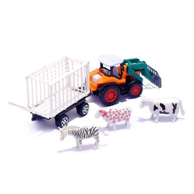 "Inertial tractor ""Farmer"", with trailer and animals MIX"