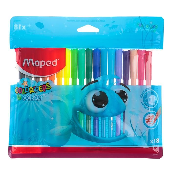 Фломастеры 18 цветов Color'Peps Ocean, смываемые, европодвес