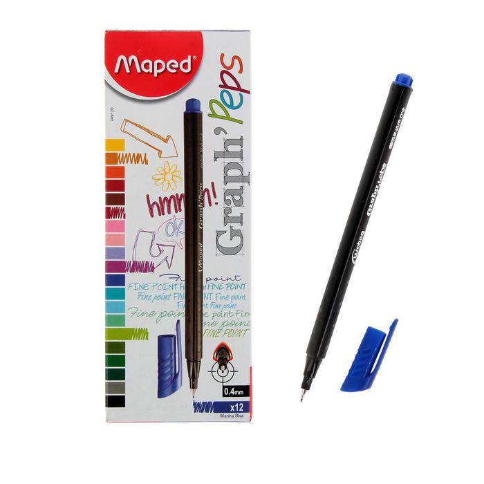 Ручка капиллярная GRAPH PEP'S, чернила синие, узел 0.4мм, трехгранная