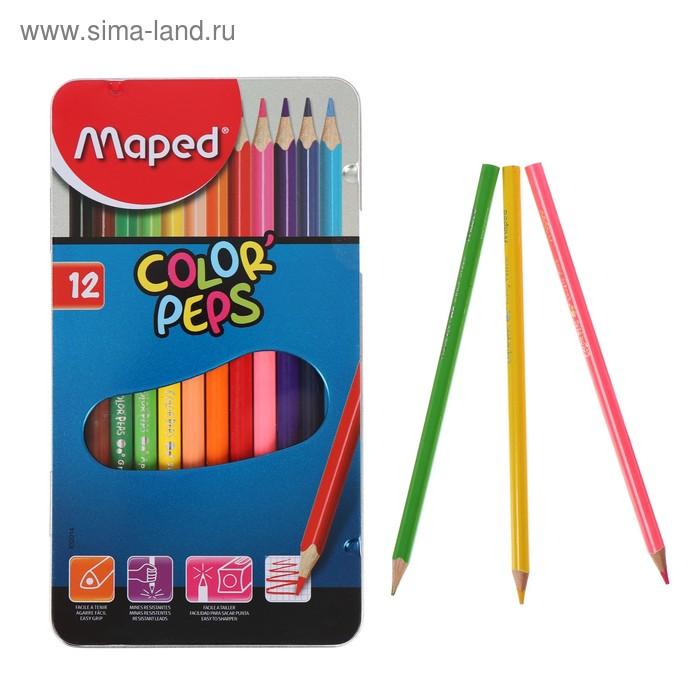 Карандаши трехгранные 12 цветов Color'Peps, в металлической коробке