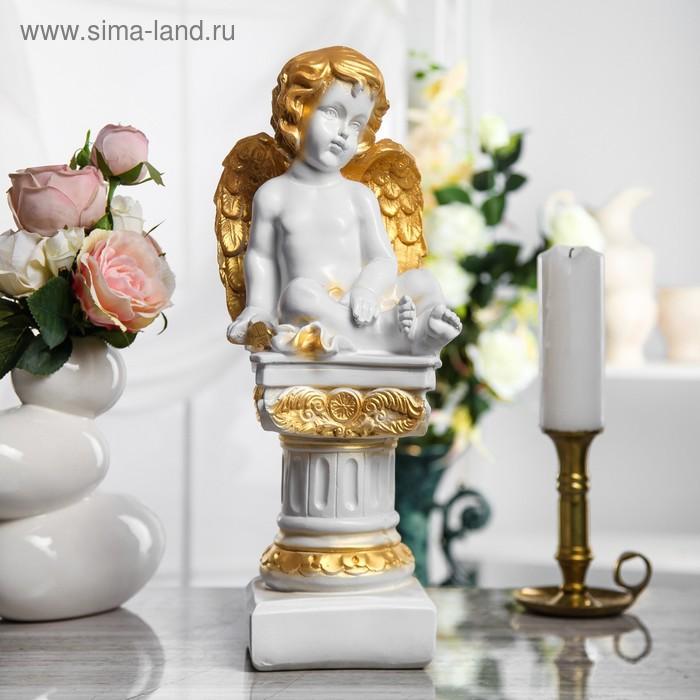 """Сувенир """"Ангел на колонне"""" бело-золотой"""