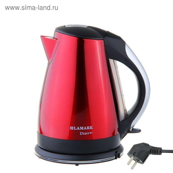 Чайник электрический Lamark LK-1006, 1.8 л, 2200 Вт, металл, чёрно-красный