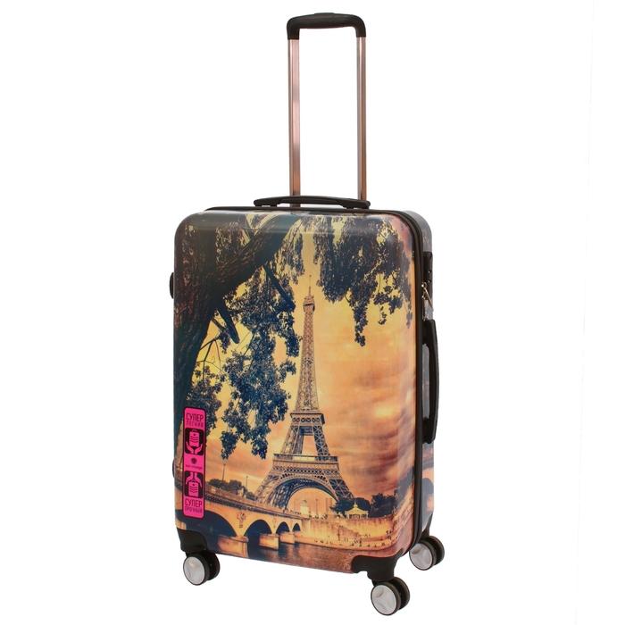 """Чемодан """"Париж"""", средний, 24"""", 68 л, кодовый замок, 4 колеса, разноцветный"""
