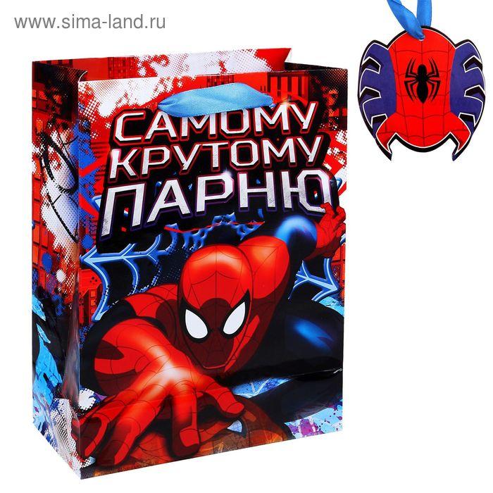 """Пакет ламинат вертикальный """"Самому крутому парню"""", Человек-Паук, 18 х23 см, + мини-открытка"""