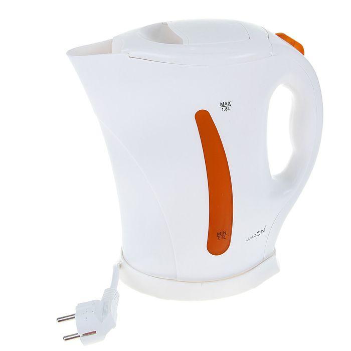 Чайник электрический LuazON LPK-1801, 1.8 л, 1850 Вт, бело-оранжевый