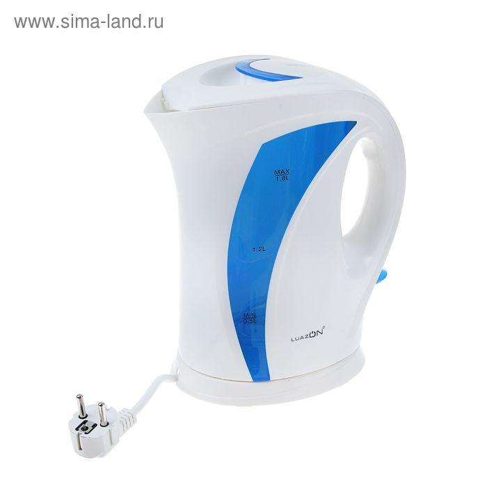 Чайник электрический LuazON LPK-1803, 1.8 л, 1850 Вт, бело-синий