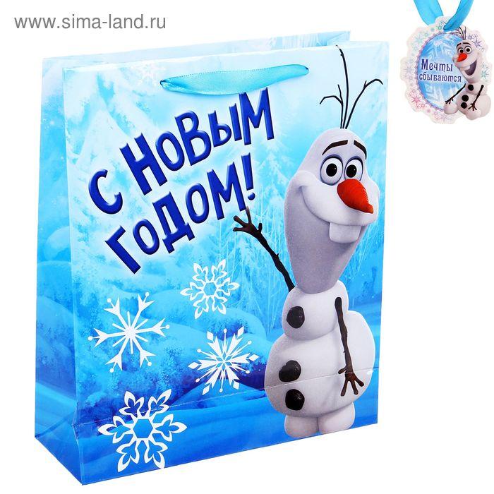"""Пакет ламинат вертикальный """"Веселого праздника"""", Холодное сердце, 23х27 см, + мини-открытка"""