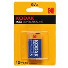 Батарейка алкалиновая Kodak Max, 6LR61-1BL, 9В, крона, блистер, 1 шт.
