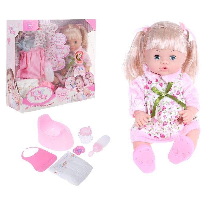 Baby doll in a sundress with a set of clothing and accessories, drinks, writes, audio functions