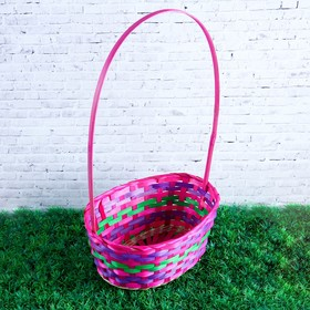 Basket, wicker, bamboo, oval, pink, with a green stripe