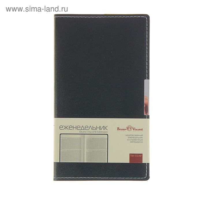 Еженедельник недатированный А6, 80 листов, Bruno Visconti METROPOL черный, кожзам