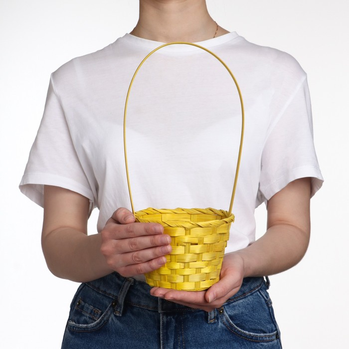 Basket, wicker, bamboo, yellow, (cylinder)