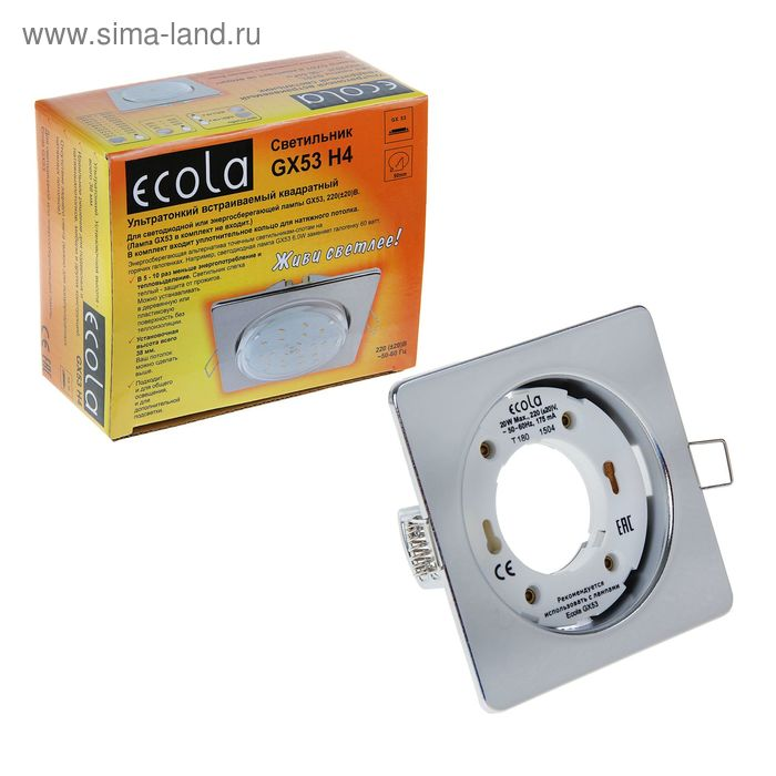 Светильник встраиваемый Ecola, GX53, 106x41 мм, с открытым краем, цвет хром