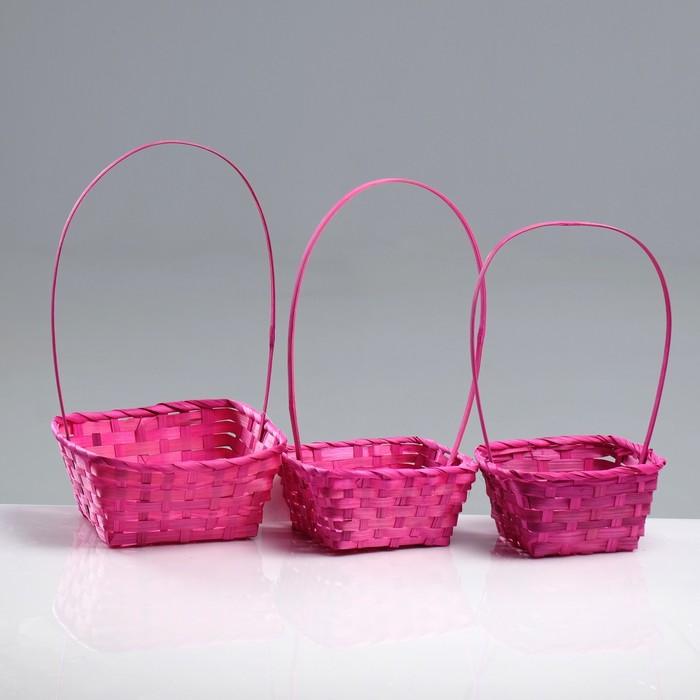 Набор корзин плетёных, бамбук, 3 шт, розовый