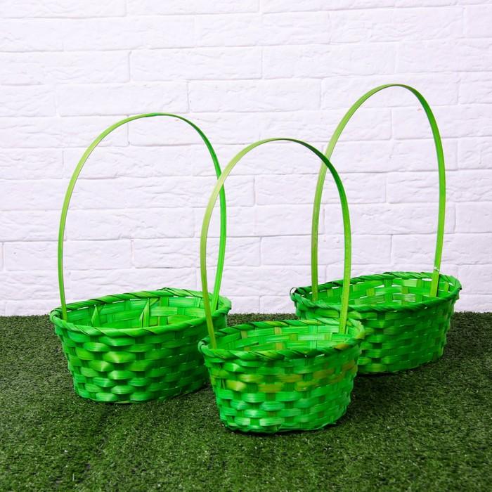 Набор корзин плетёных, бамбук, 3 шт., зеленые, большие