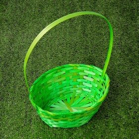 A set of wicker baskets, bamboo, 3 piece, green, large