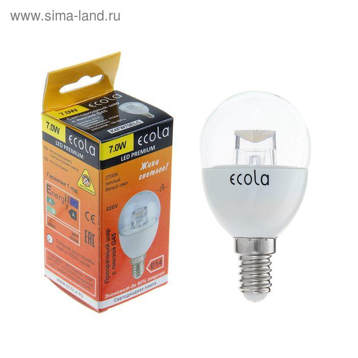 Лампа светодиодная Ecola, Е14, 7 Вт, 2700 К, прозрачный шар с линзой