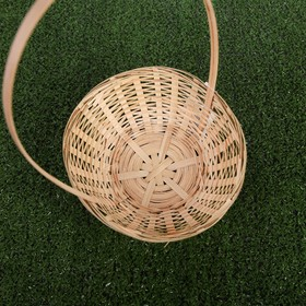 Basket, wicker, bamboo, natural color, low