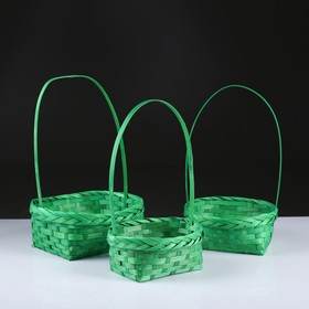 A set of wicker baskets, green, bamboo, 3 PC.