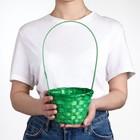 Basket, wicker, bamboo, green, medium