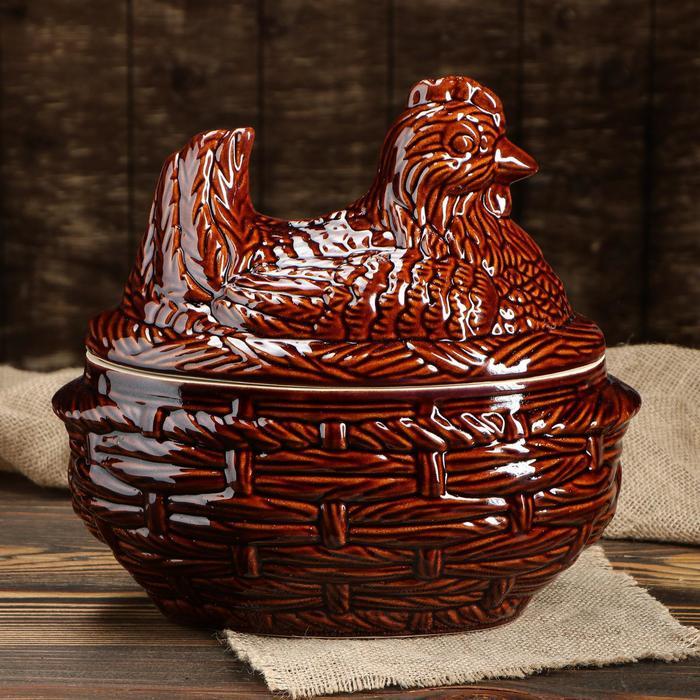 """Горшок духовой """"Курица"""", керамика, 3 л - фото 226055"""