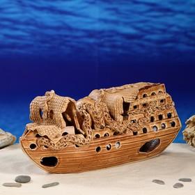 "Декорация для аквариума ""Корабль с осьминогом"", 11 х 39 х 19 см"