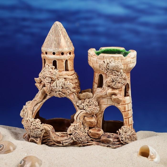 """Декорация для аквариума """"Замок с башней-луковицей"""", 10 х 17 х 18,5 см, микс"""
