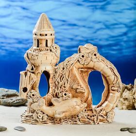 "Декорация для аквариума ""Замок, амфора и арка"" , 10 х 23 х 24 см"