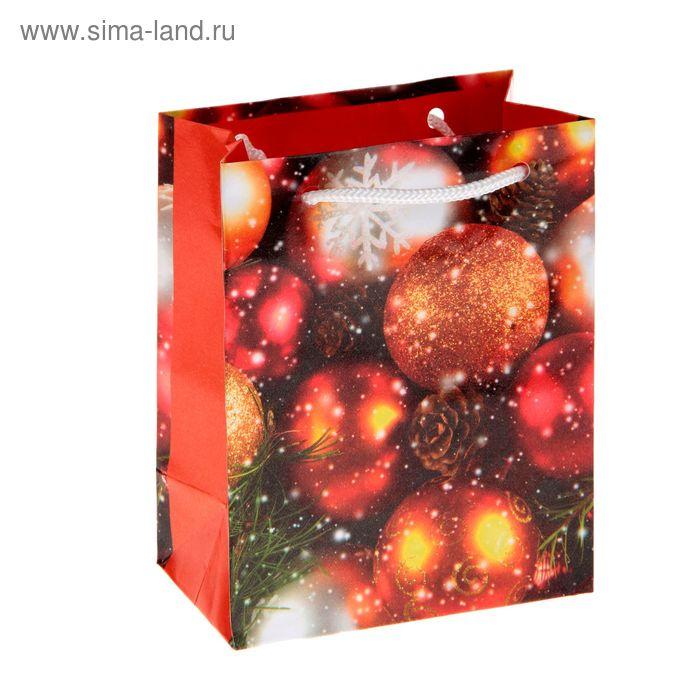 """Пакет подарочный """"Рождественские украшения"""", 11,5 х 14,5 х 6,5 см"""