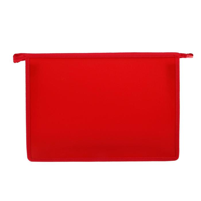 Folder plastic A4, zipper on top, Office color, red