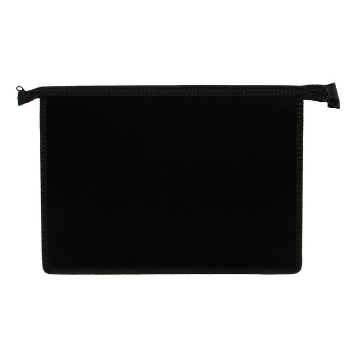 Папка пластиковая А4, молния сверху, Офис цветная, чёрная